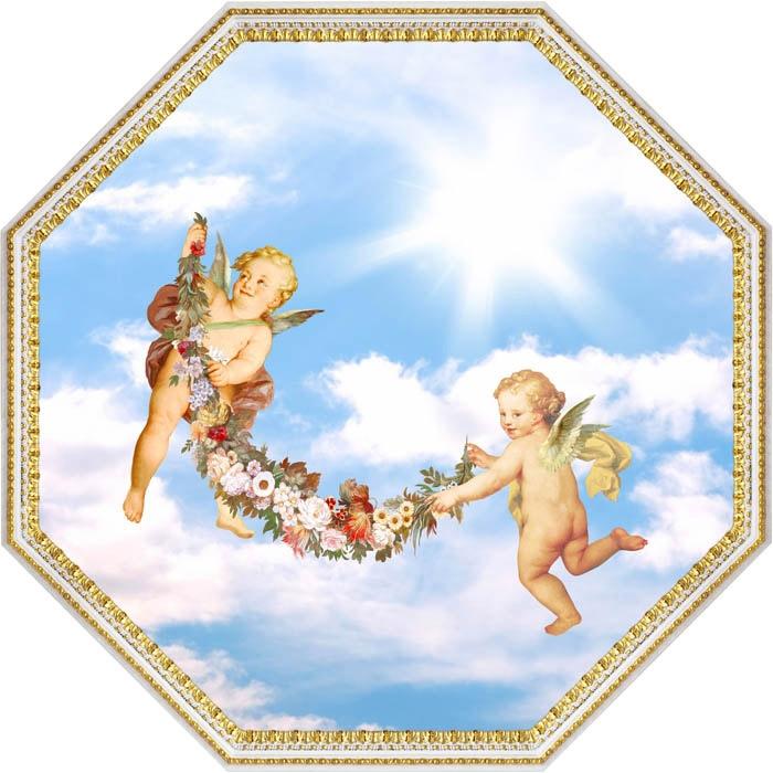 фотопечать на натяжной потолок с ангелочками теплице поликарбоната